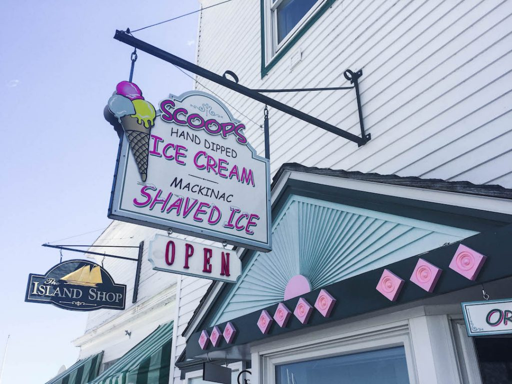 A cute sign hanging over the ice cream shop on Mackinac Island