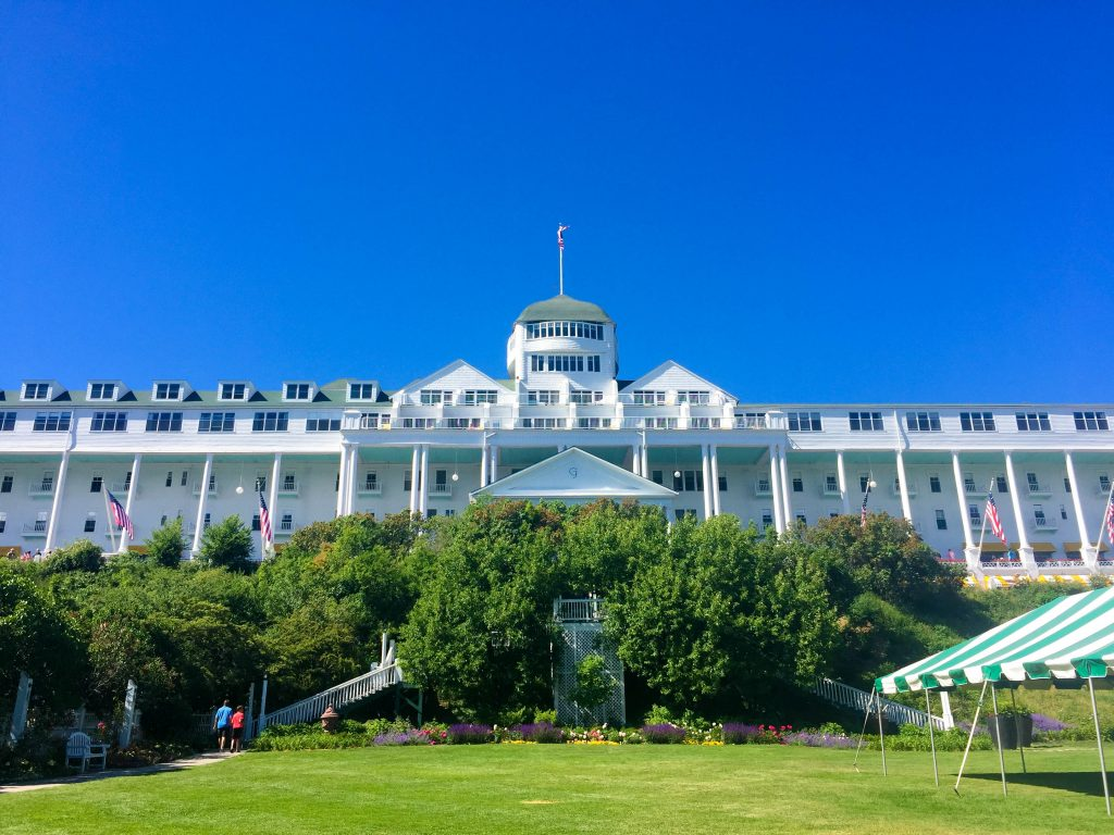 The facade of the Grand Hotel on Mackinac Island, Michigan