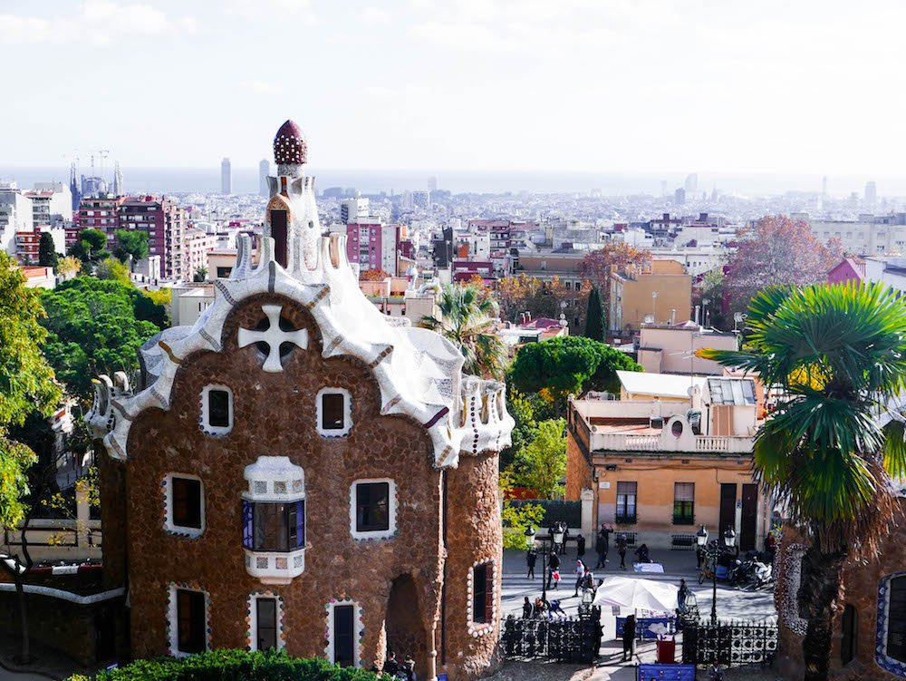 Park Guell View Barcelona Spain