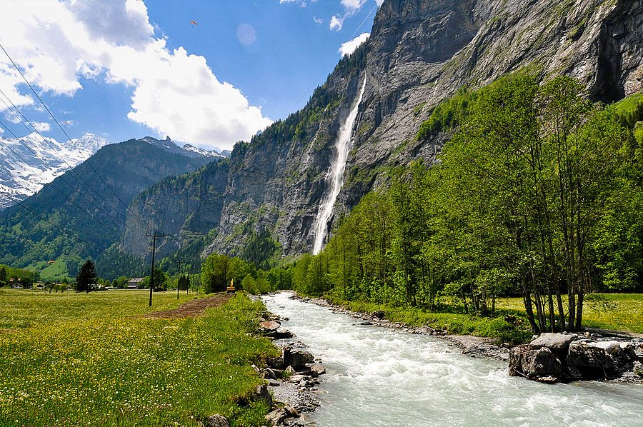 Rapid Stream in Lauterbrunnen Valley in Swiss Alps, Switzerland.
