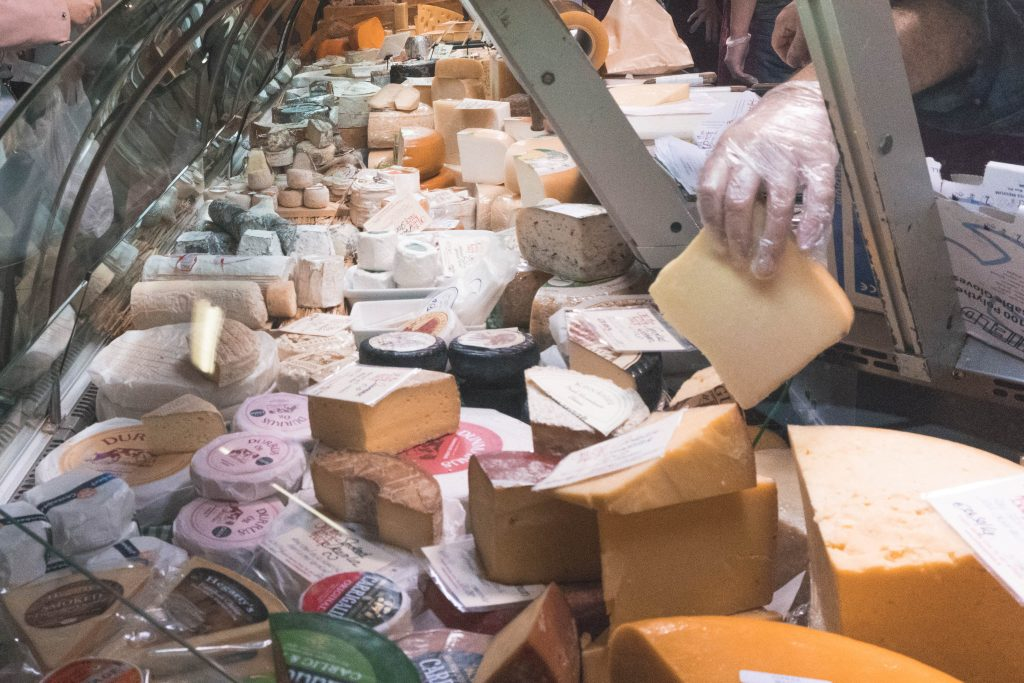 Cheese display at the English Market Cork