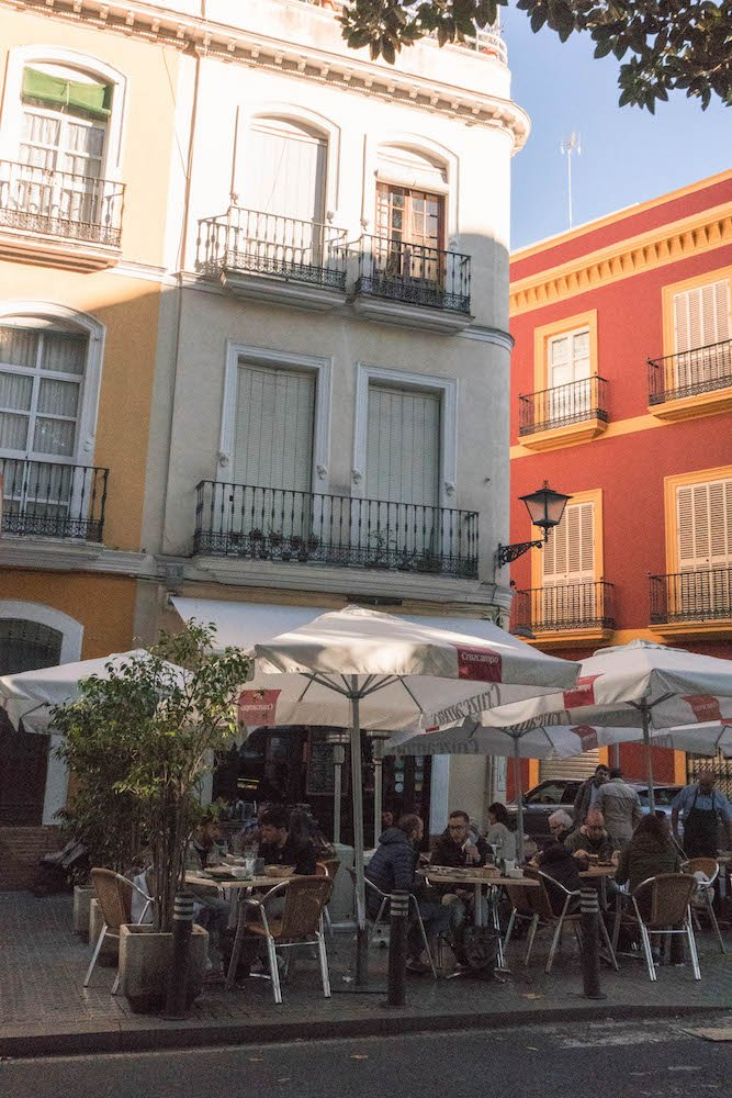 Patio and Storefront of Los Coloniales Tapas Bar in Seville, Spain