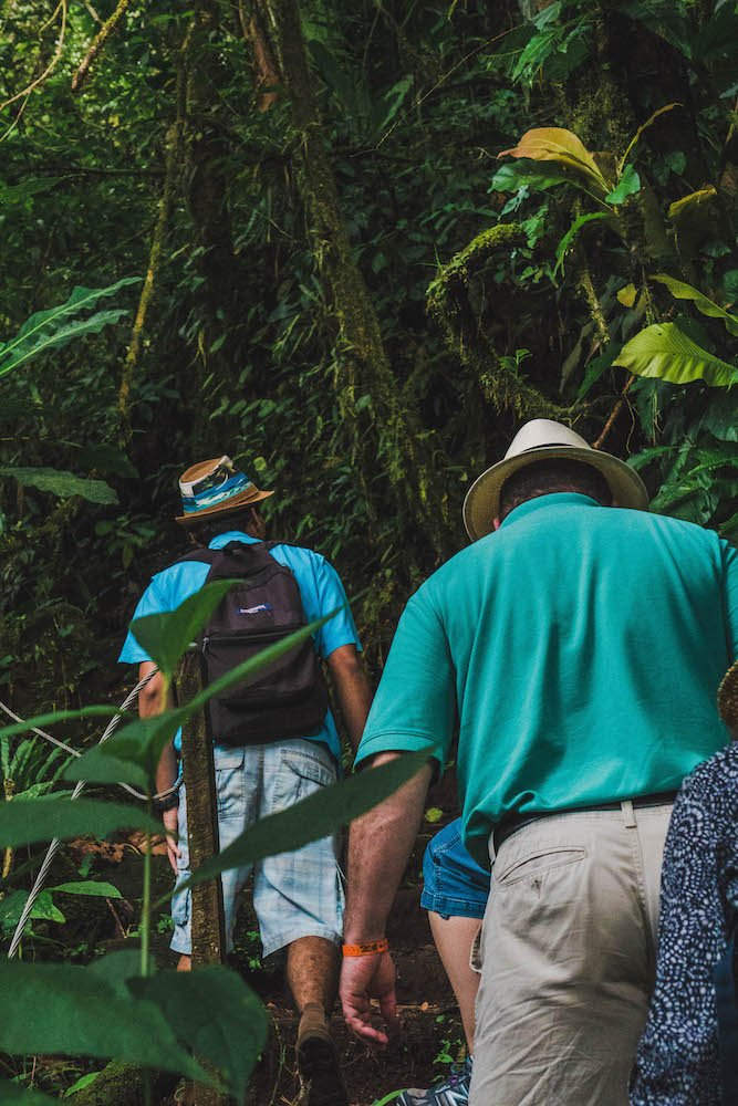 People walking on the Lava Trail in La Fortuna, Costa Rica