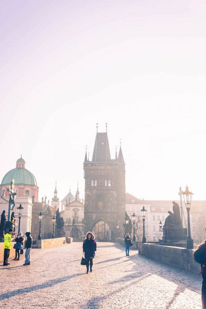 Charles Bridge early in the morning with barely any people on it