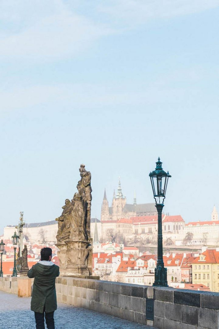 Looking at the Prague Castle from an empty Charles Brigge