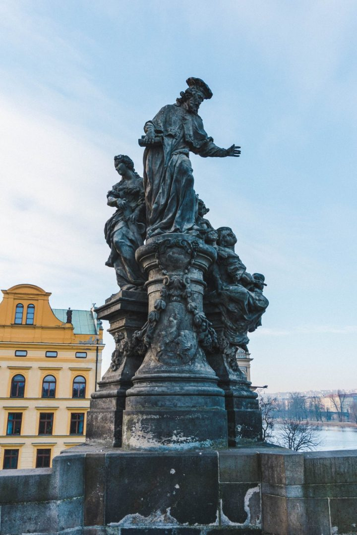 One of the many statues lining Charles Bridge in Prague