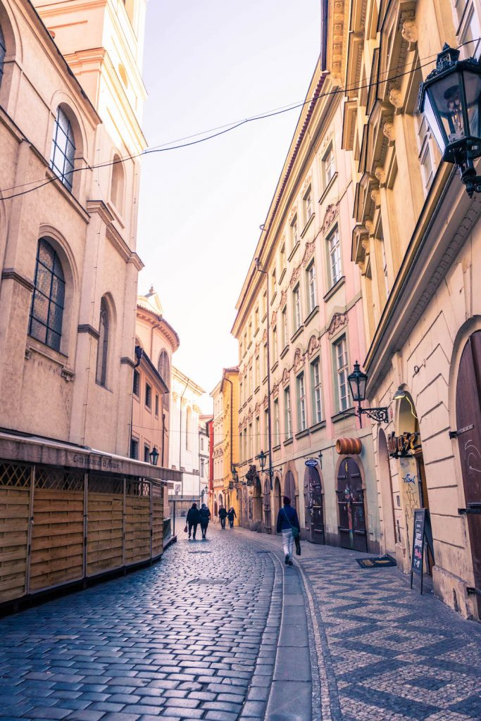 An empty street in Old Town, Prague