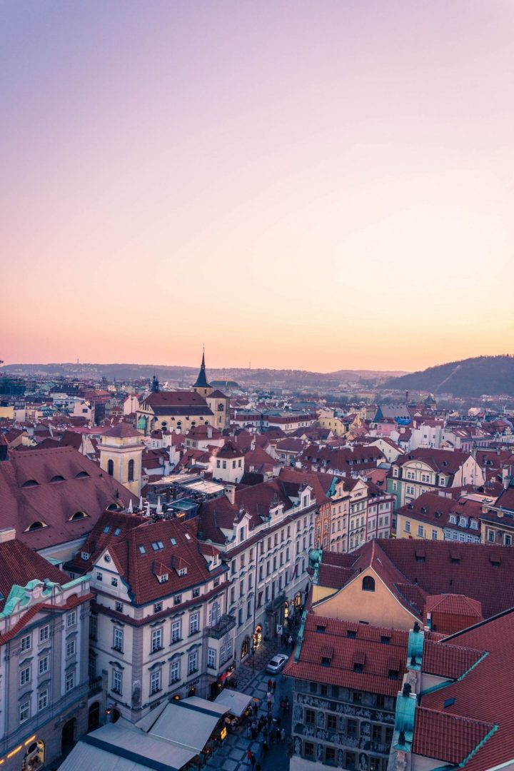 Sunset view of Prague from the Astronomical Clock Tower