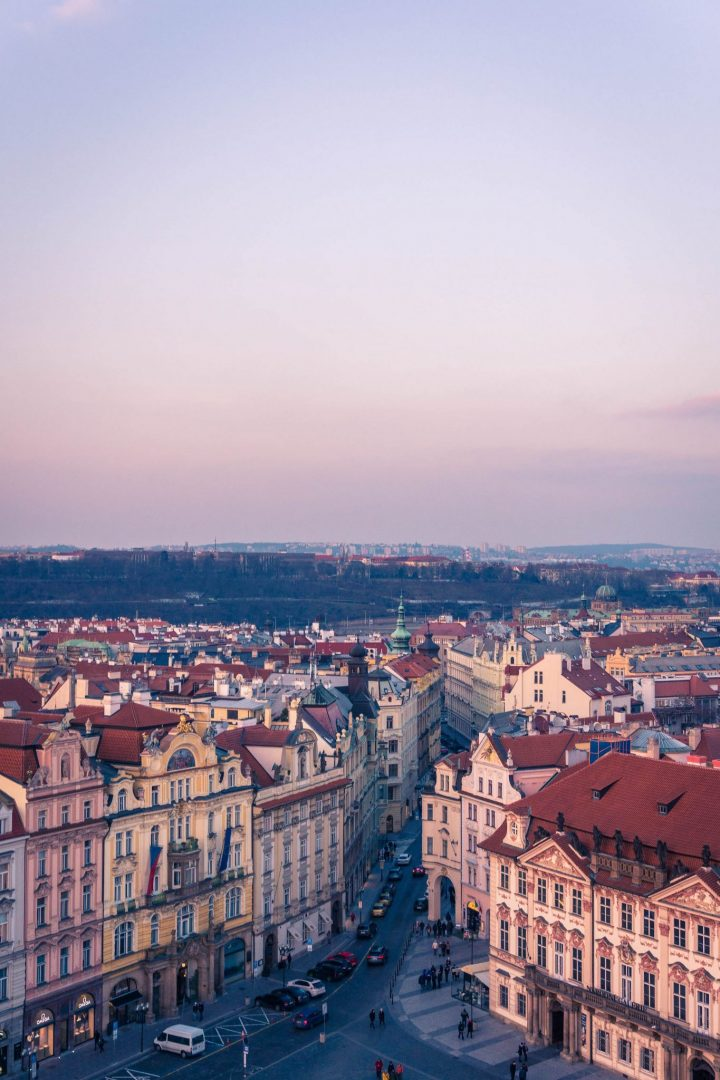 View from the Astronomical Clock Tower in Prague at sunset