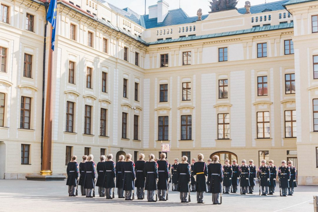 Two lines of guards at the changing of the guard ceremony at Prague Castle