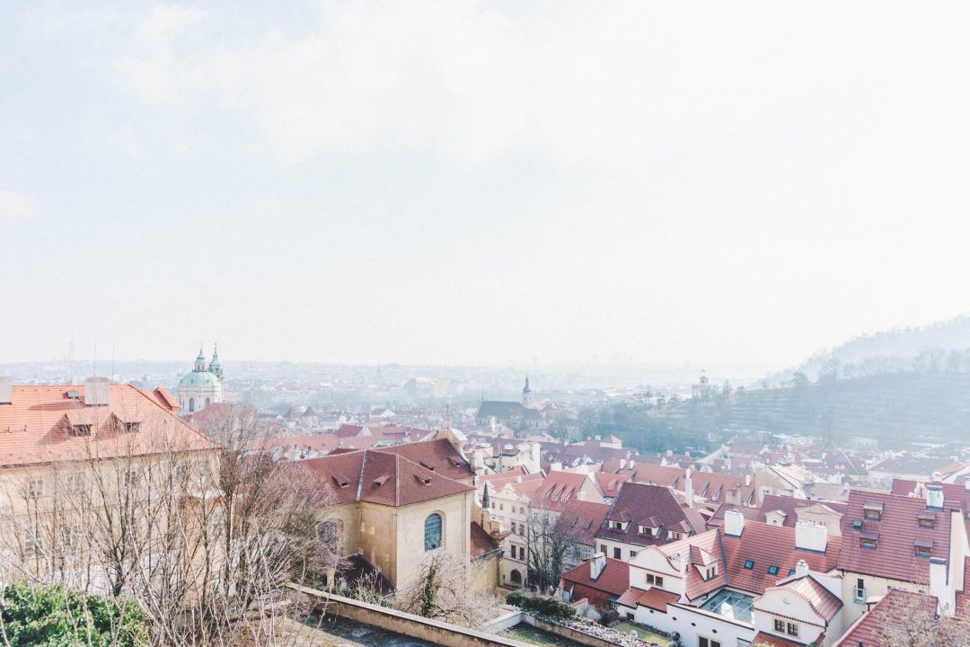 The view over the city of Prague from Prague Castle