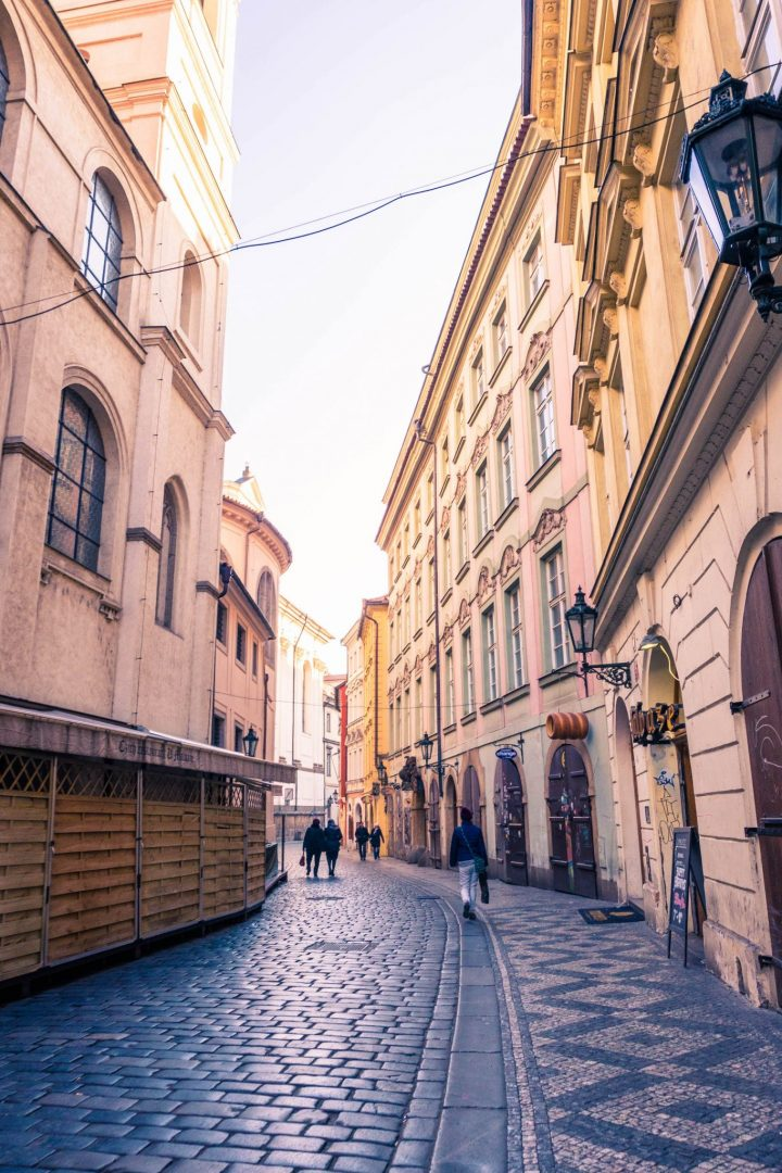 An empty street in Prague, early in the morning