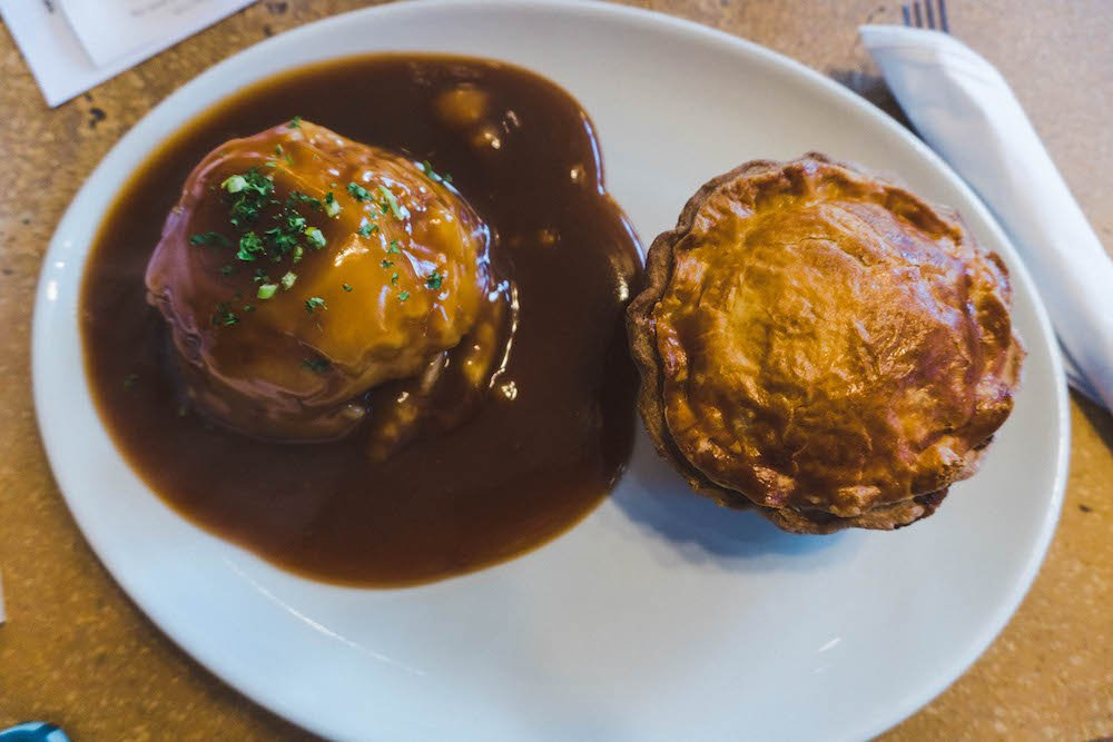 Steak and ale pie and mashed potatoes