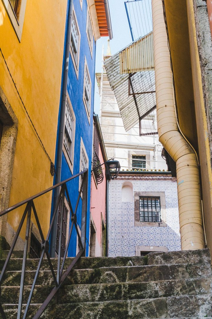 Stairs leading up to an alleyway in Porto, Portugal