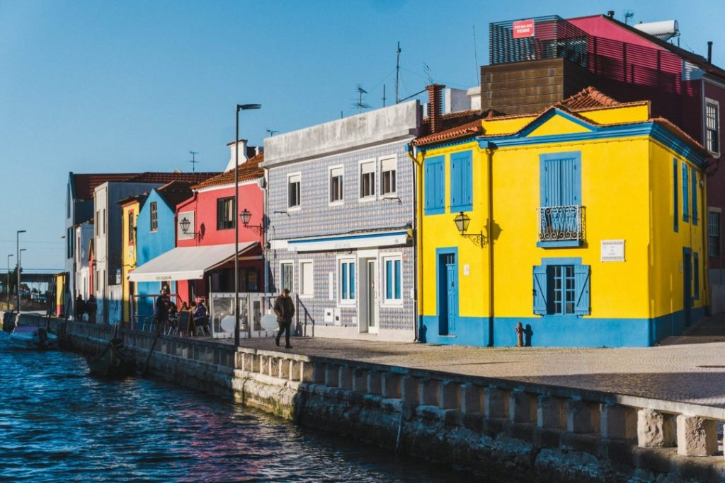 A canal in Aveiro at sunset