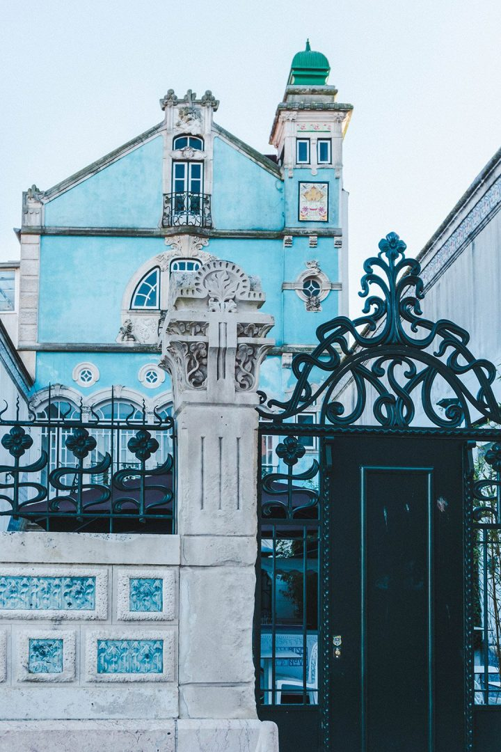 the beautiful blue building of the Art Nouveau museum in Aveiro, Portugal - one of many delightful things to do in Aveiro, Portugal