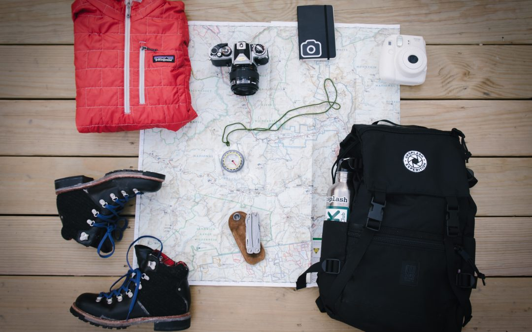 Europe backpacking gear flatlay