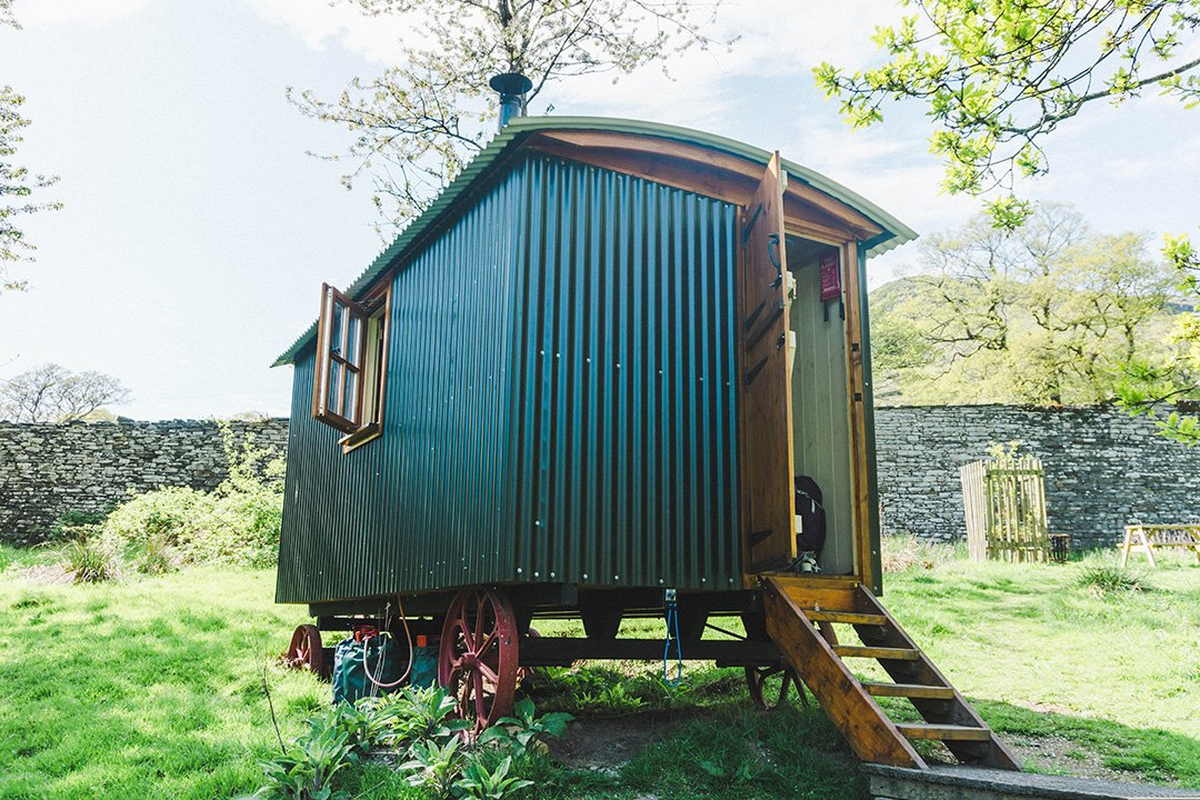 the outside of a Herdy Hut, a Lake District glamping site