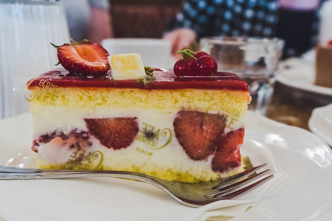 closeup of strawberry cake at Cafe Central in Vienna, Austria