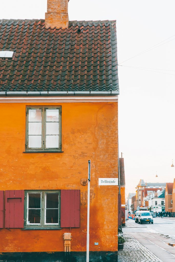 An orange house in Nyoder Copenhagen