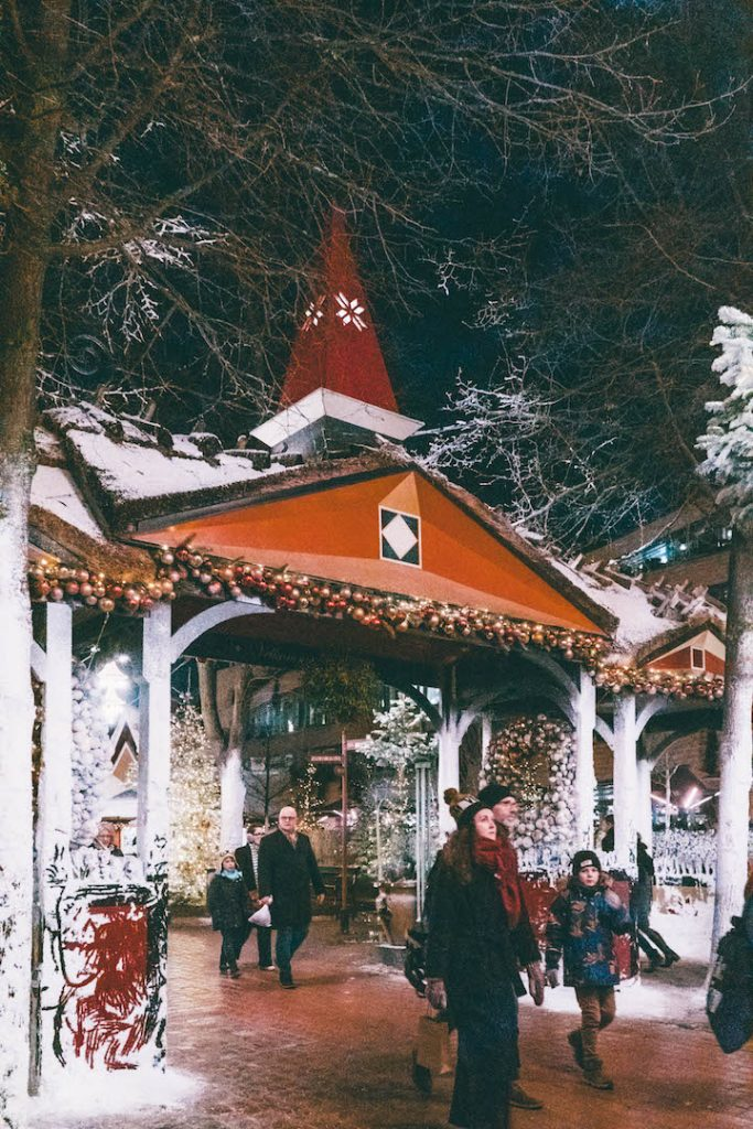 A gateway decked out for Christmas as Tivoli Gardens in Copenhagen in winter