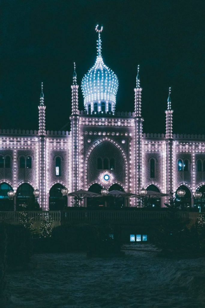 Tivoli Gardens lit up at night