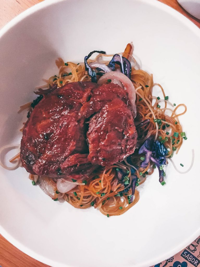 Pork cheek and asian noodles