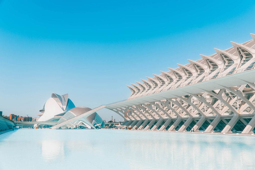 The city of arts and sciences in Valencia, Spain - a futuristic set of buildngs